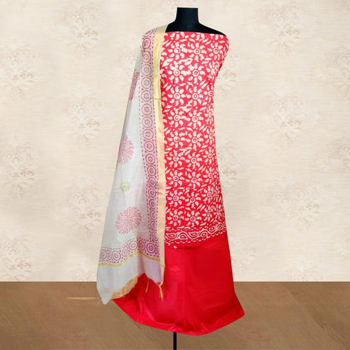 IRIS - Red Colored Casual Block Hand Wax Batik Printed Cotton Dress Material