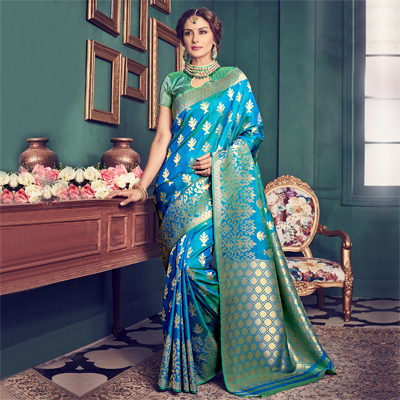 Shaded Blue - Green Silk Saree
