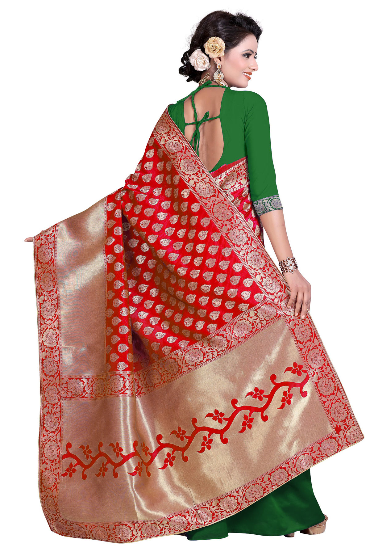 Red-Green Designer Festive Wear Banarasi Silk Saree