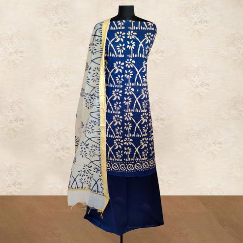 IRIS - Blue Colored Casual Block Hand Wax Batik Printed Cotton Dress Material