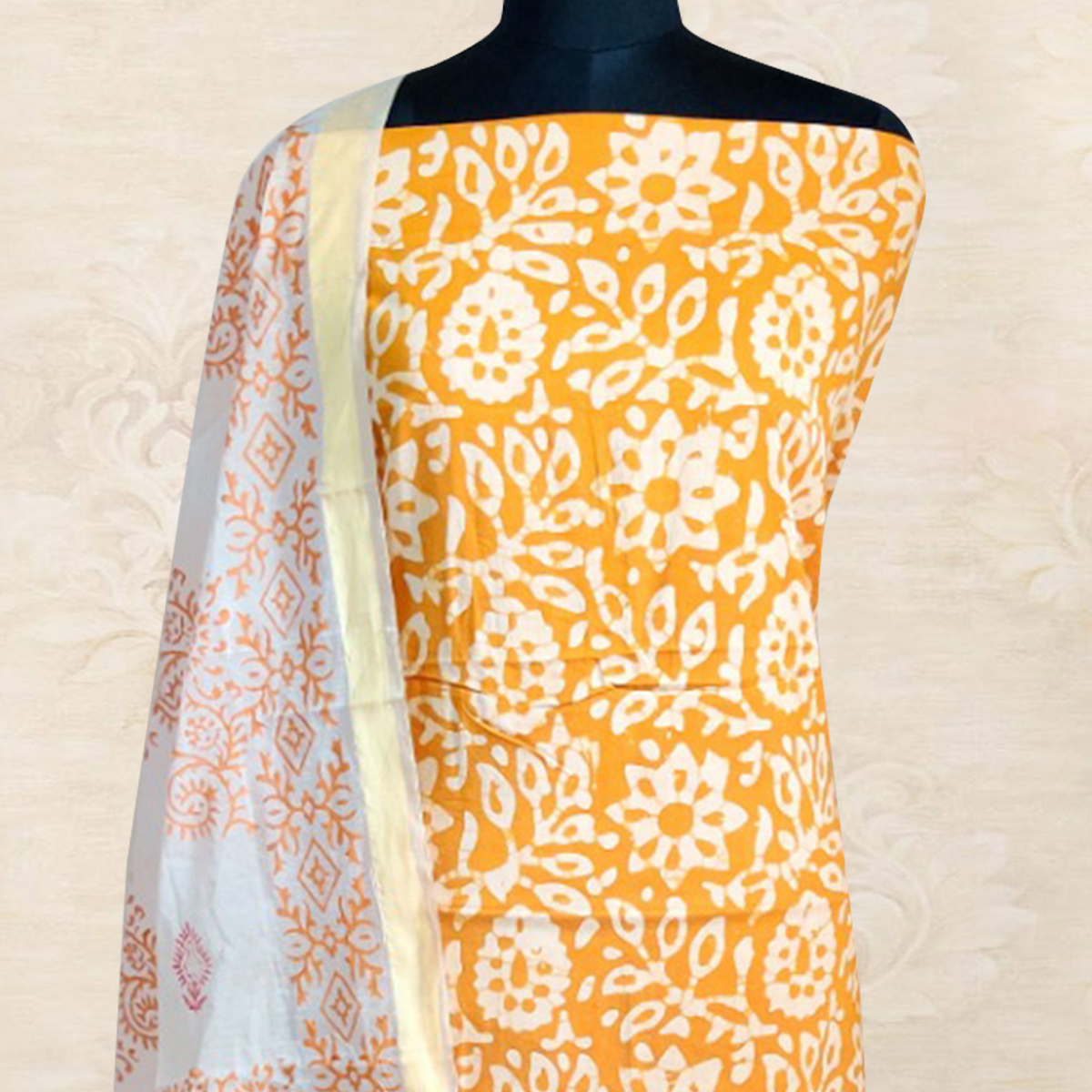 IRIS - Yellow Colored Casual Block Hand Wax Batik Printed Cotton Dress Material