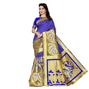 Blue Designer Festive Wear Banarasi Silk Saree