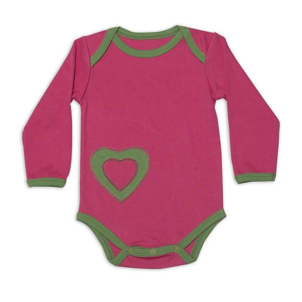 Nino Bambino - Pink With Green Colored Casual Heart Patch Cotton Bodysuit