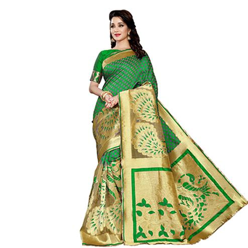 Green Designer Festive Wear Banarasi Silk Saree
