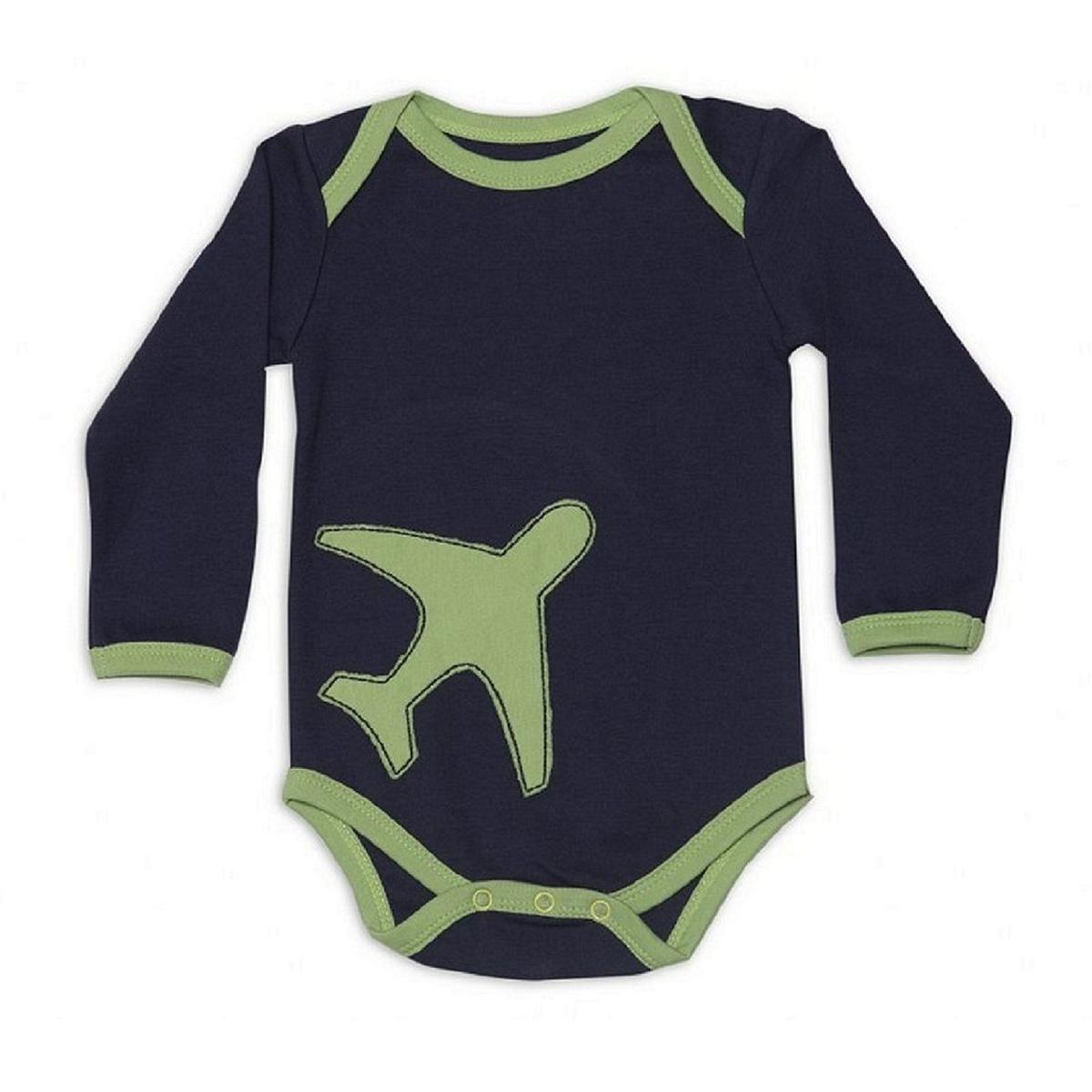 Nino Bambino - Navy With Green Colored Casual Aeroplan Patch Cotton Bodysuit