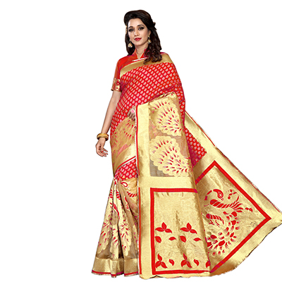 Red Designer Festive Wear Banarasi Silk Saree