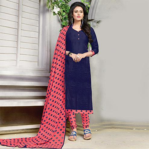 Elegant Navy Blue Printed Cotton Dress Material