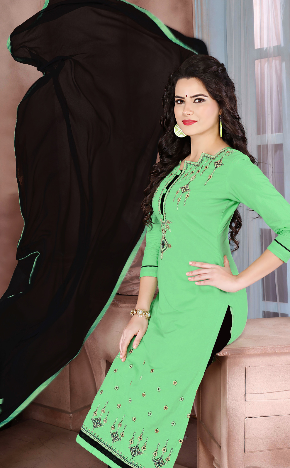 Graceful Green Designer Embroidered Cambric Cotton Palazzo Suit