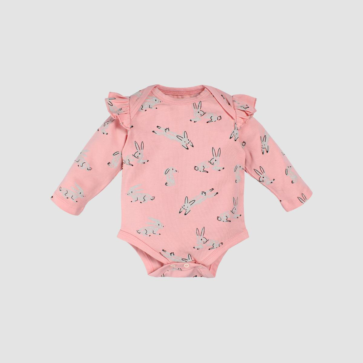 Nino Bambino - Pink Colored Casual Cotton Large Sleeve Frill Bodysuit