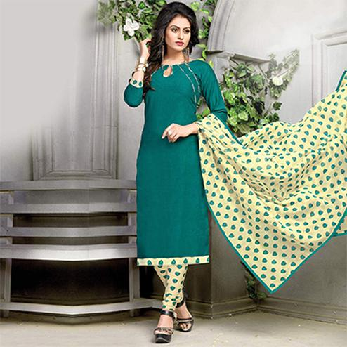 Gorgeous Green Printed Cotton Dress Material