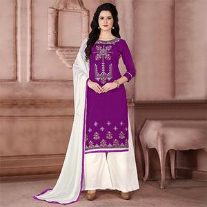 Lovely Purple Designer Embroidered Cambric Cotton Palazzo Suit
