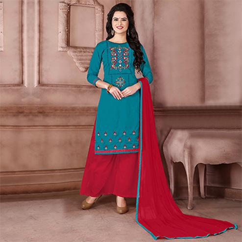 Beautiful Teal Blue Designer Embroidered Cambric Cotton Palazzo Suit