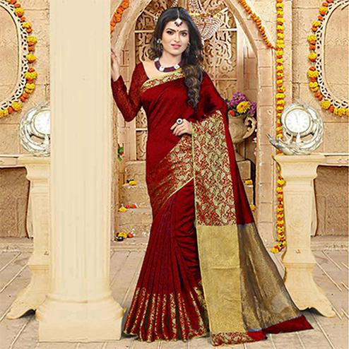 Red Top Dyed Weaving Work Saree