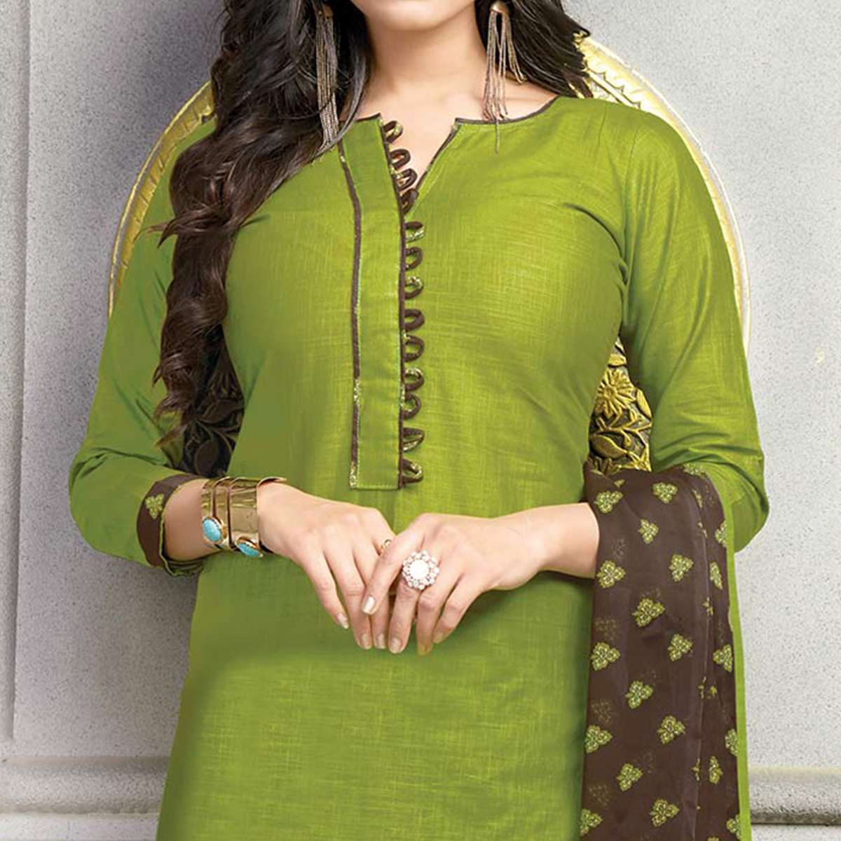 Classy Green Printed Cotton Dress Material