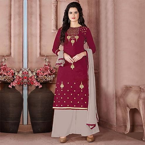 Stunning Maroon Designer Embroidered Cambric Cotton Palazzo Suit