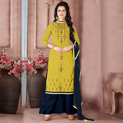 Charming Light Yellow Designer Embroidered Cambric Cotton Palazzo Suit