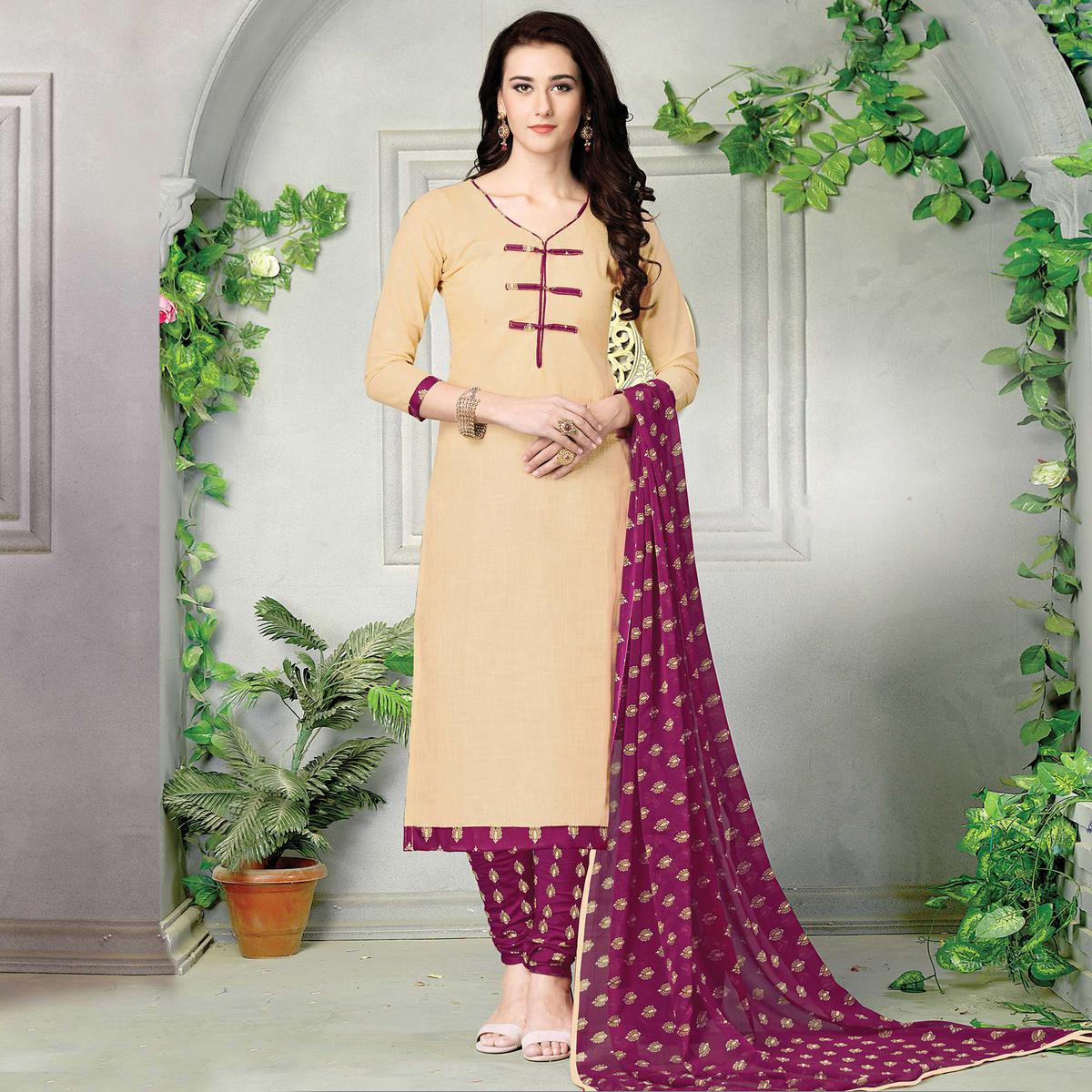 Graceful Beige Printed Cotton Dress Material