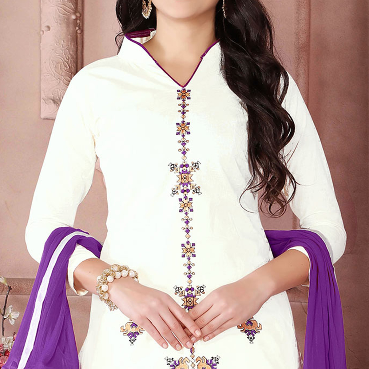 Elegant White Designer Embroidered Cambric Cotton Palazzo Suit