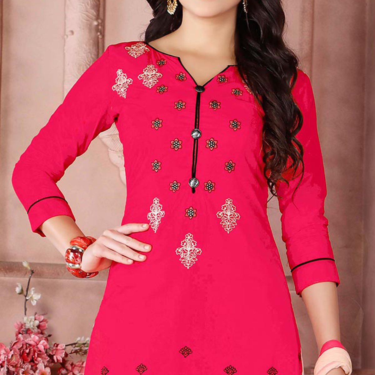 Mesmerising Red Designer Embroidered Cambric Cotton Palazzo Suit