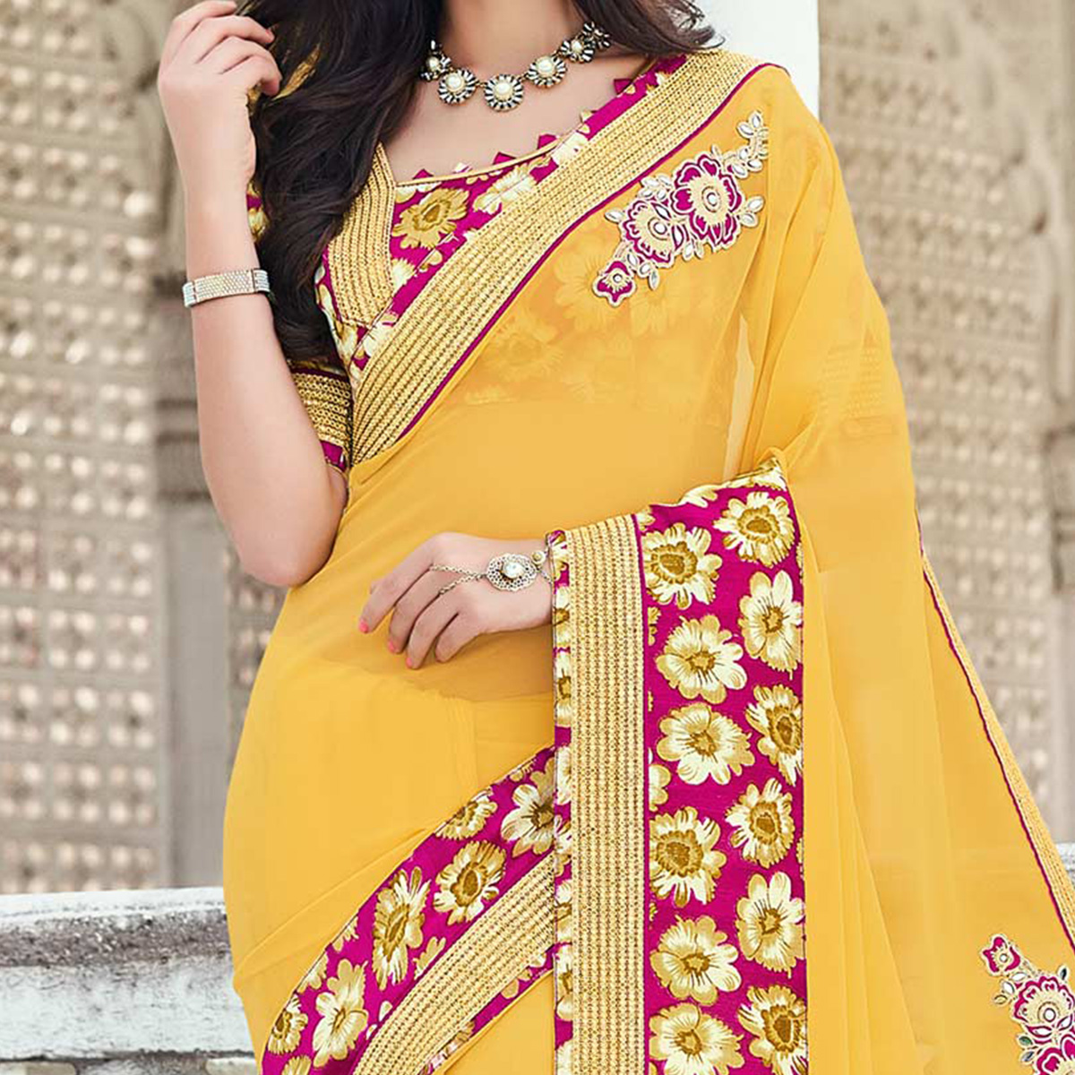 Yellow Floral Work Georgette Saree