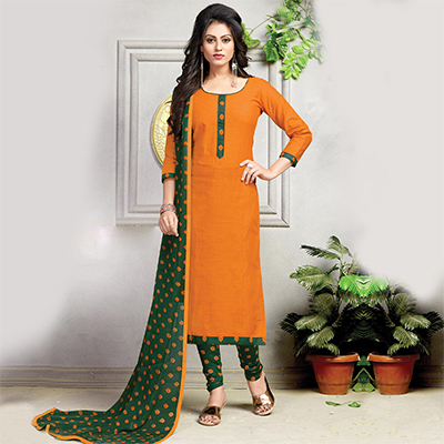 Flamboyant Orange Printed Cotton Dress Material