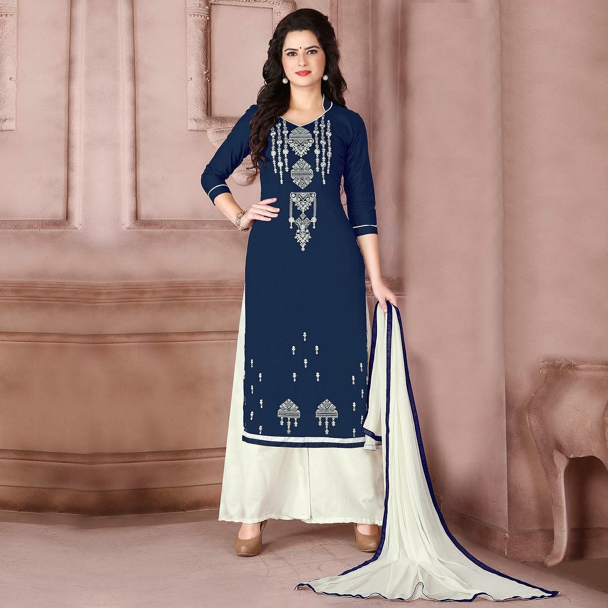 Gorgeous Navy Blue Designer Embroidered Cambric Cotton Palazzo Suit