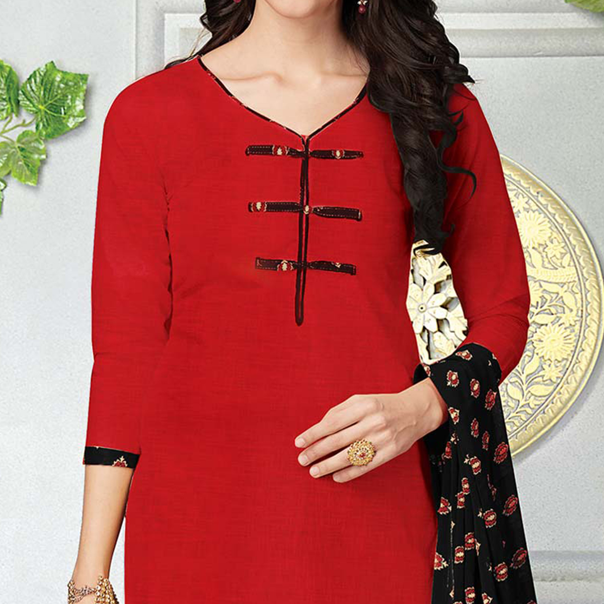 Ravishing Red Printed Cotton Dress Material