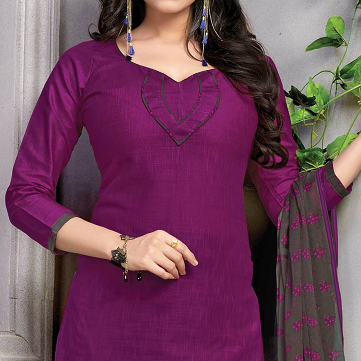 Adorable Purple Printed Cotton Dress Material