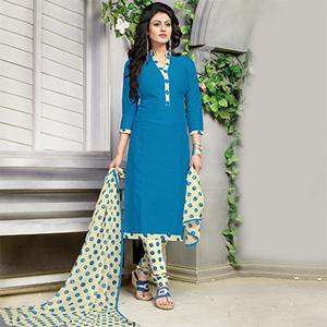 Stunning Blue Printed Cotton Dress Material