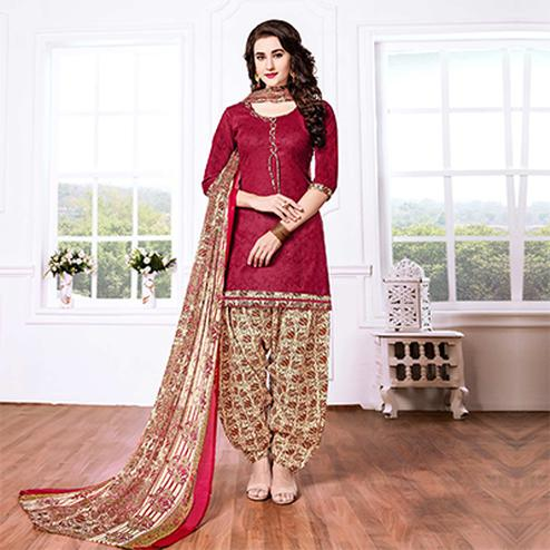 Maroon - Beige Casual Printed Cotton Blend Patiala Suit