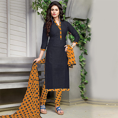 Sizzling Black Printed Cotton Dress Material