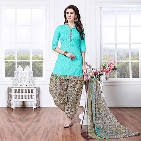 Turquoise - Brown Casual Printed Cotton Blend Patiala Suit