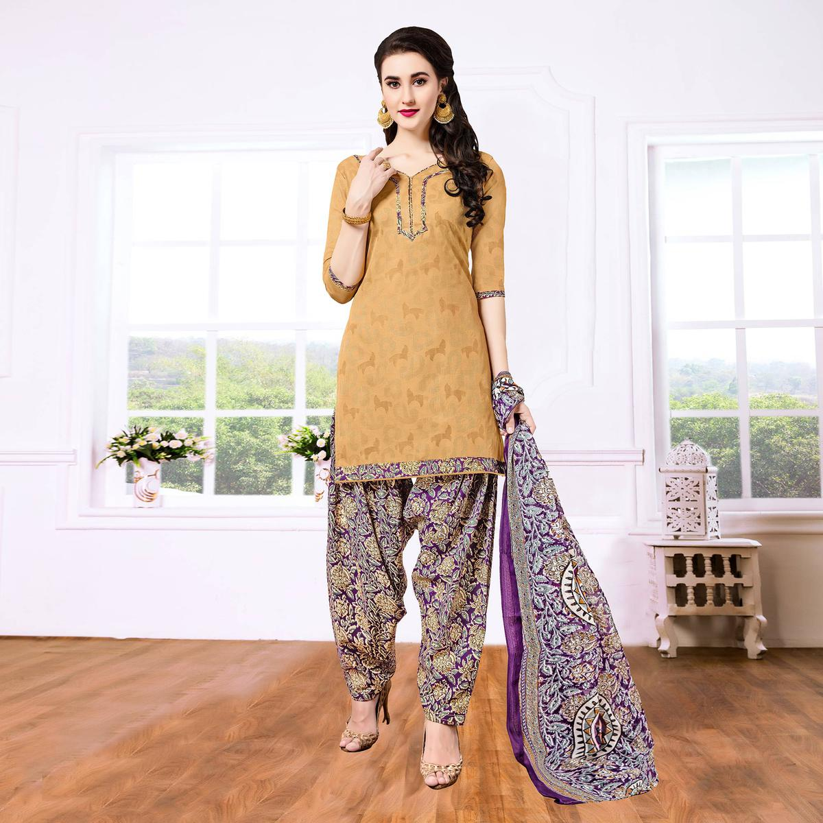 Mustard - Purple Casual Printed Cotton Blend Patiala Suit