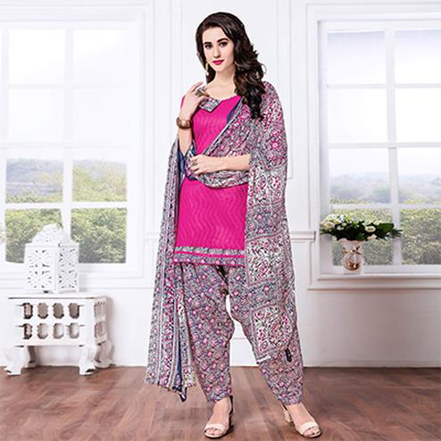 Hot Pink - Blue Casual Printed Cotton Blend Patiala Suit