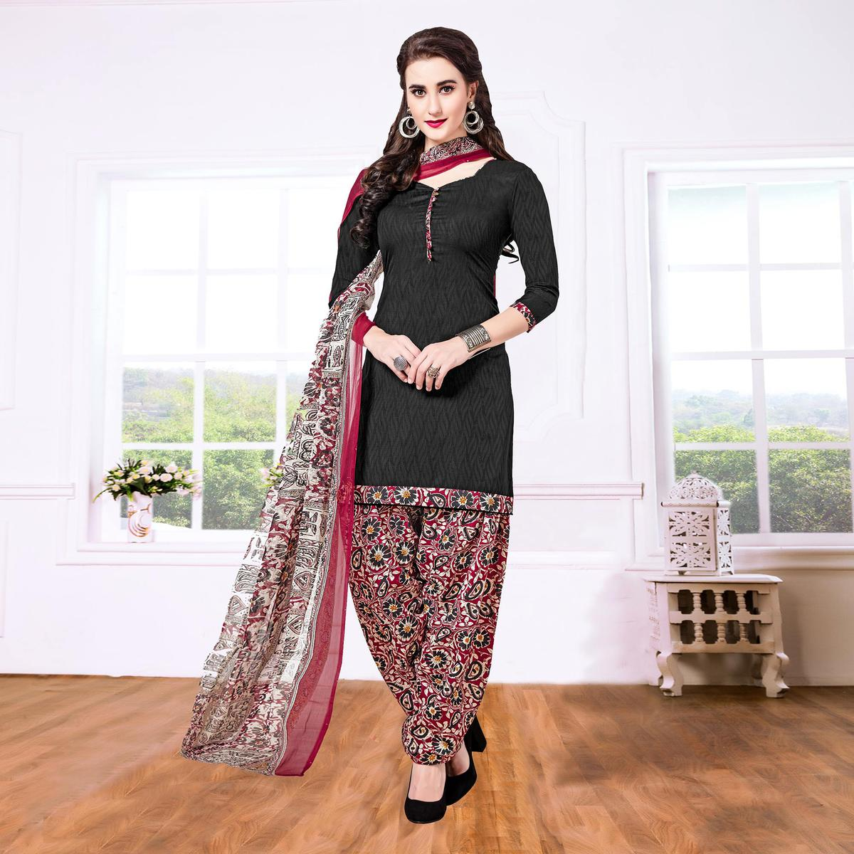Black - Maroon Casual Printed Cotton Blend Patiala Suit