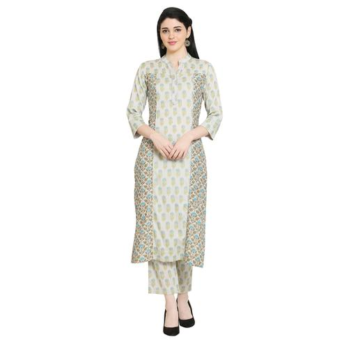 Vastrakaar - Light Mint Green Colored Casual Wear Printed Straight Cotton Blend Kurti