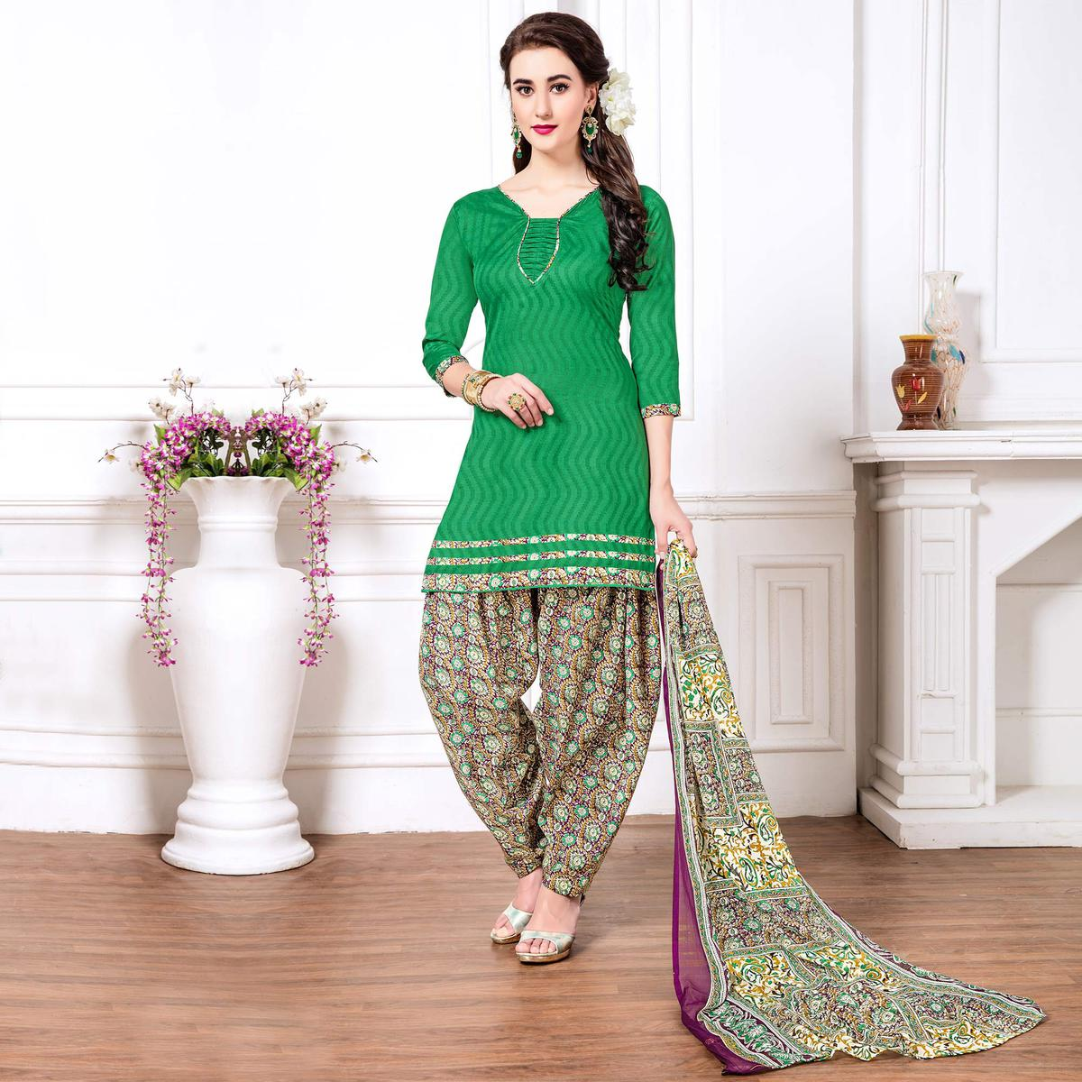 Green - Purple Casual Printed Cotton Blend Patiala Suit