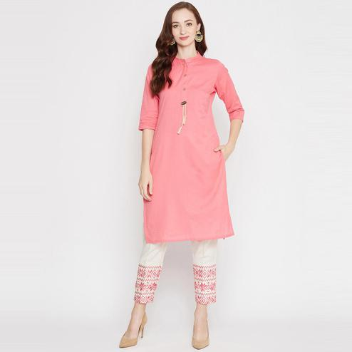 Winered - Peach Colored Casual Wear Embroidered Straight Cotton Kurta-Pant Set