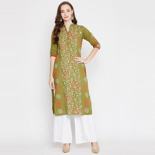 Winered - Green Colored Casual Wear Block Print Straight Cotton Kurti