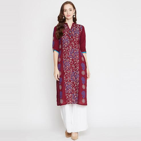 Winered - Maroon Colored Casual Wear Block Print Straight Cotton Kurti