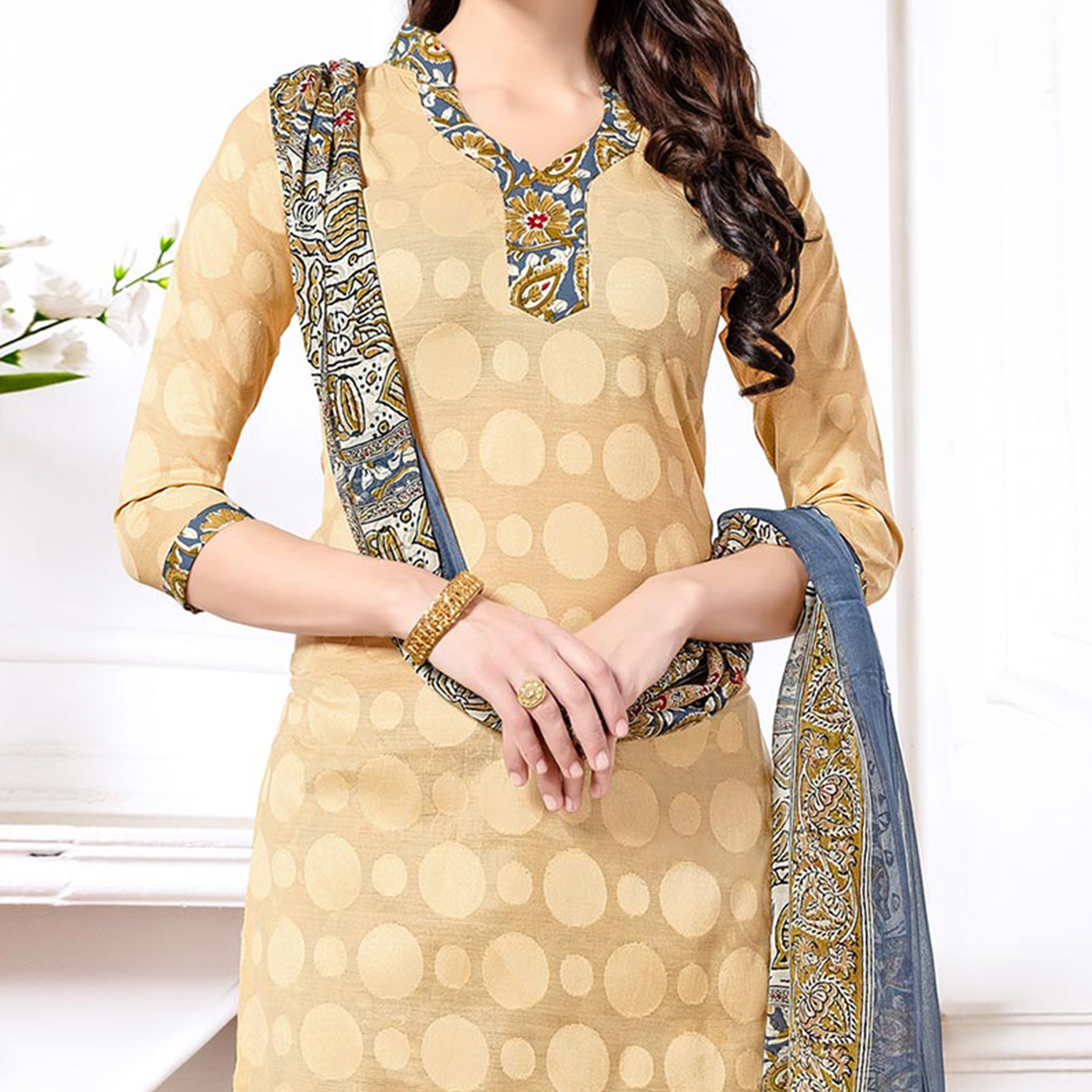 Beige - Grey Casual Printed Cotton Blend Patiala Suit