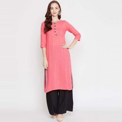 Winered - Peach Colored Casual Wear Straight Rayon Kurti