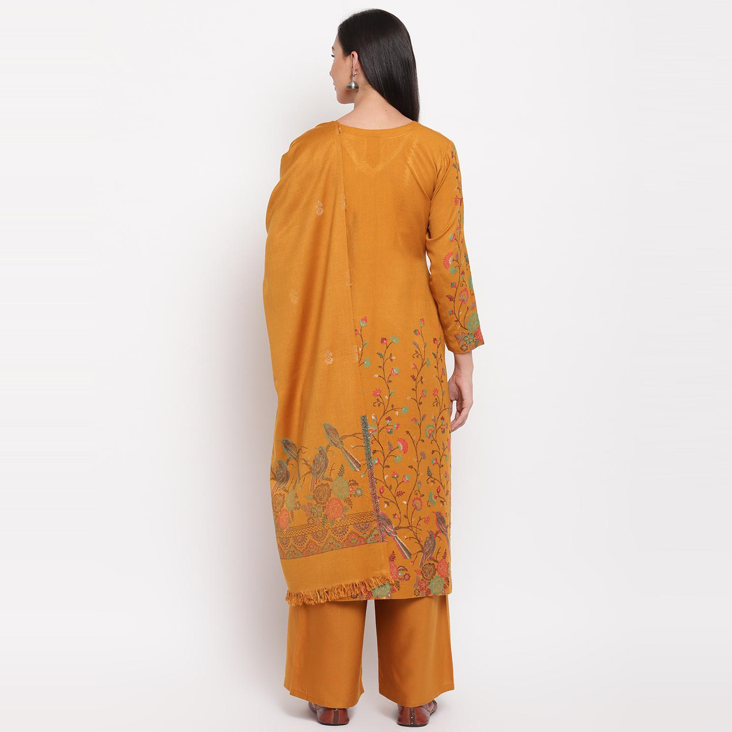 HK Colors Of Fashion - Mustard Colored Casual Woven Design Viscose Rayon Dress Material