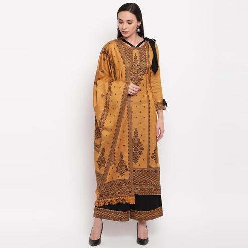 HK Colors Of Fashion - Mustard Colored Khadi Look Woven Design Acrylic Wool Blend Dress Material