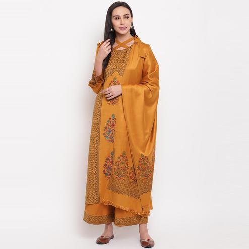 HK Colors Of Fashion - Mustard Colored Woven Design Acrylic Wool Blend Dress Material