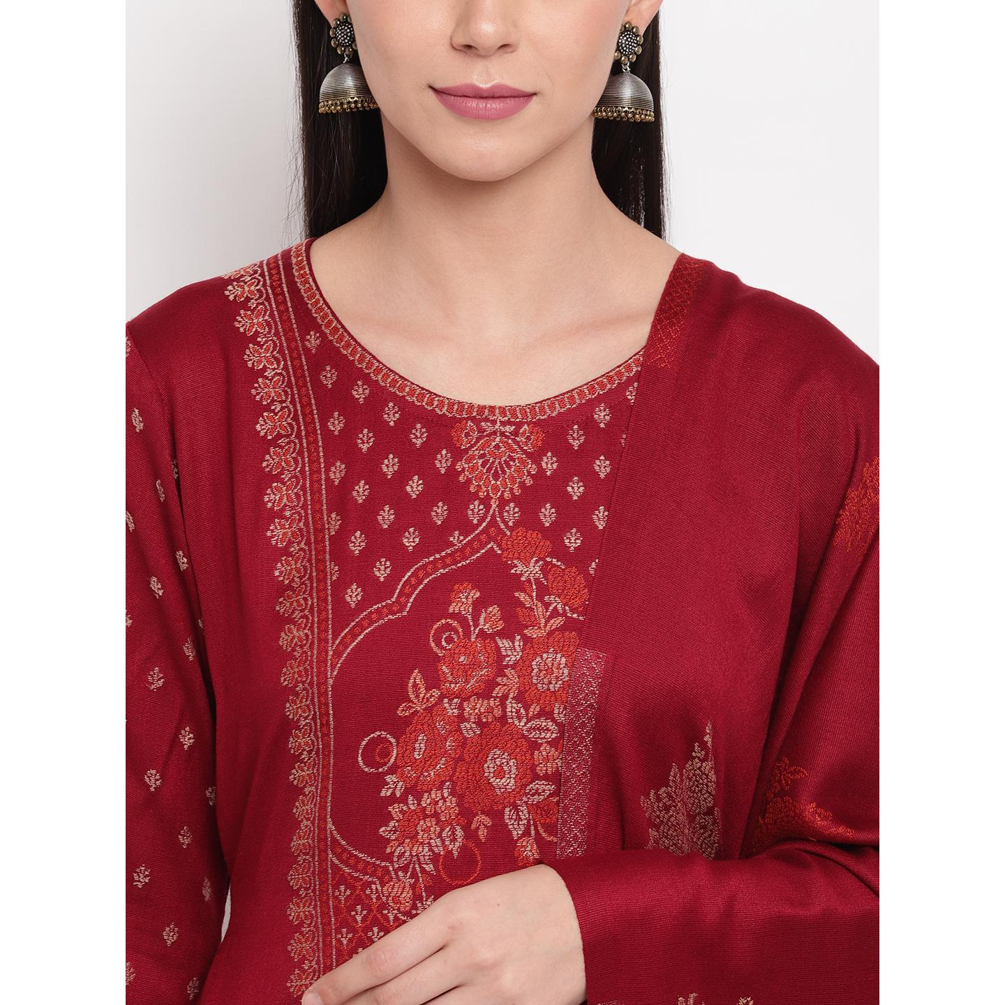 HK Colors Of Fashion - Maroon Colored Woven Design Acrylic Wool Blend Dress Material