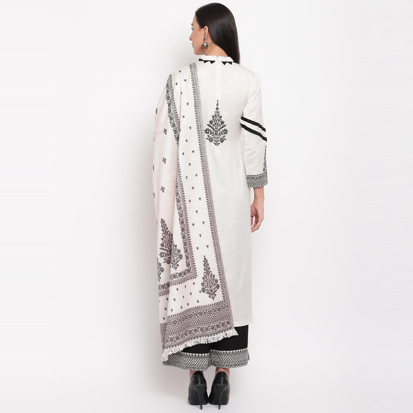 HK Colors Of Fashion - White Colored Khadi Look Woven Design Acrylic Wool Blend Dress Material