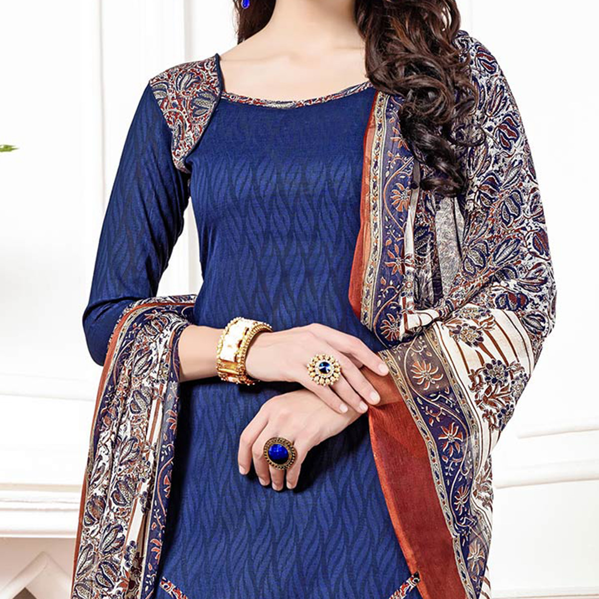 Blue - Maroon Casual Printed Cotton Blend Patiala Suit