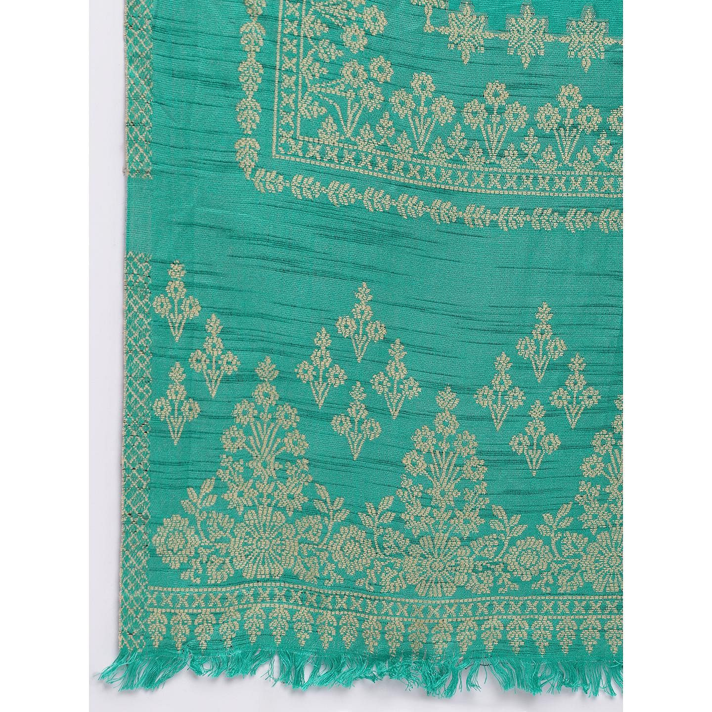 HK Colors Of Fashion - Sea Green Colored Khadi Look Woven Design Acrylic Wool Blend Dress Material