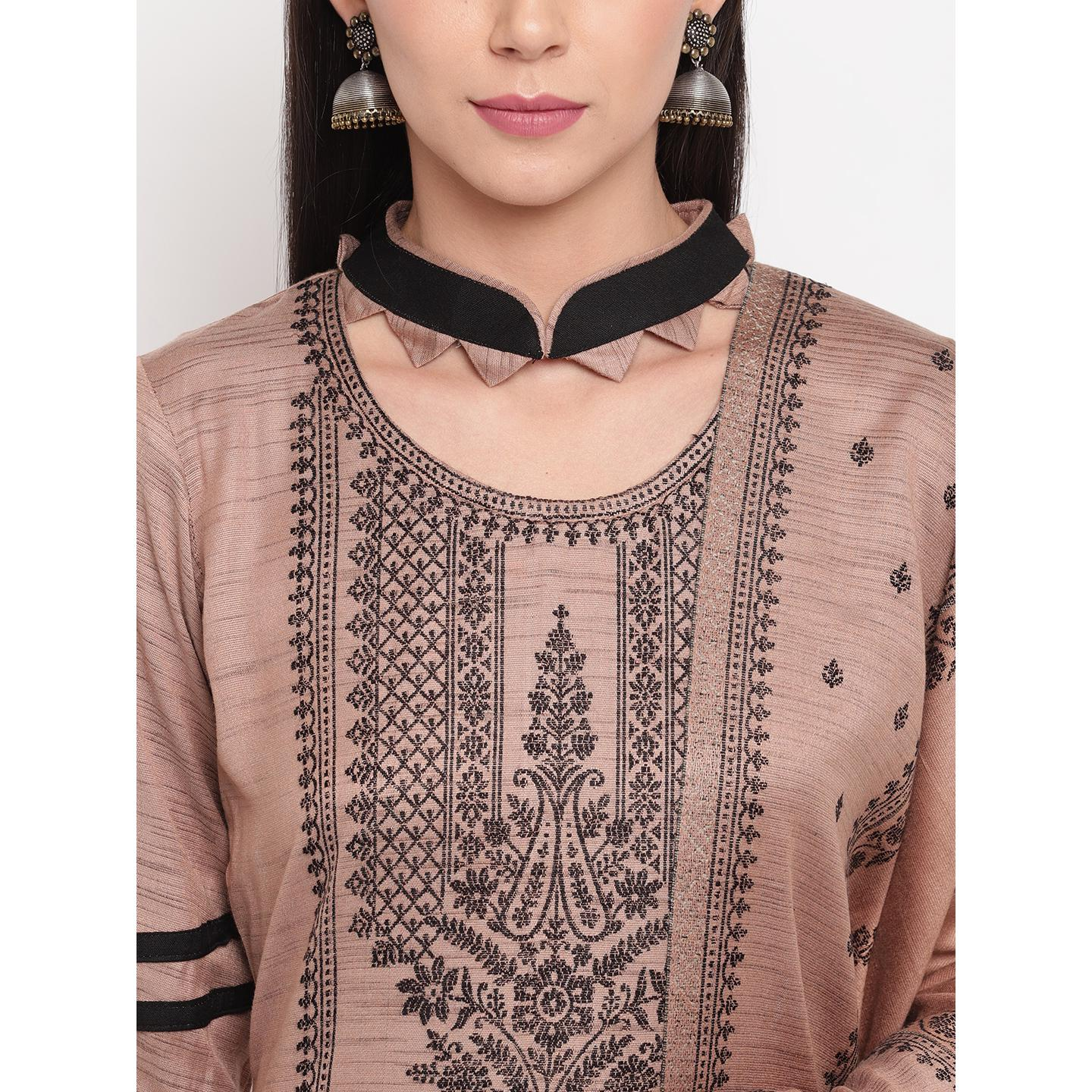 HK Colors Of Fashion - Camel Brown Colored Khadi Look Woven Design Acrylic Wool Blend Dress Material